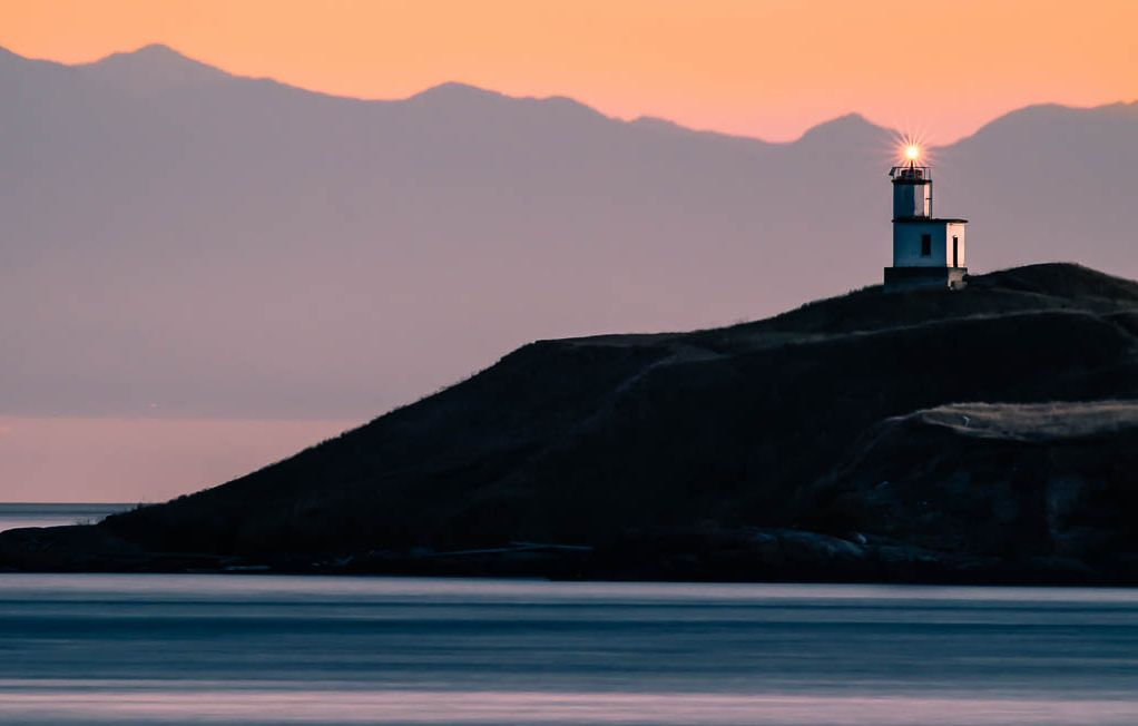 View of Cattle Point Lighthouse from Shark Reef on Lopez Island, Photography by Bill Evans