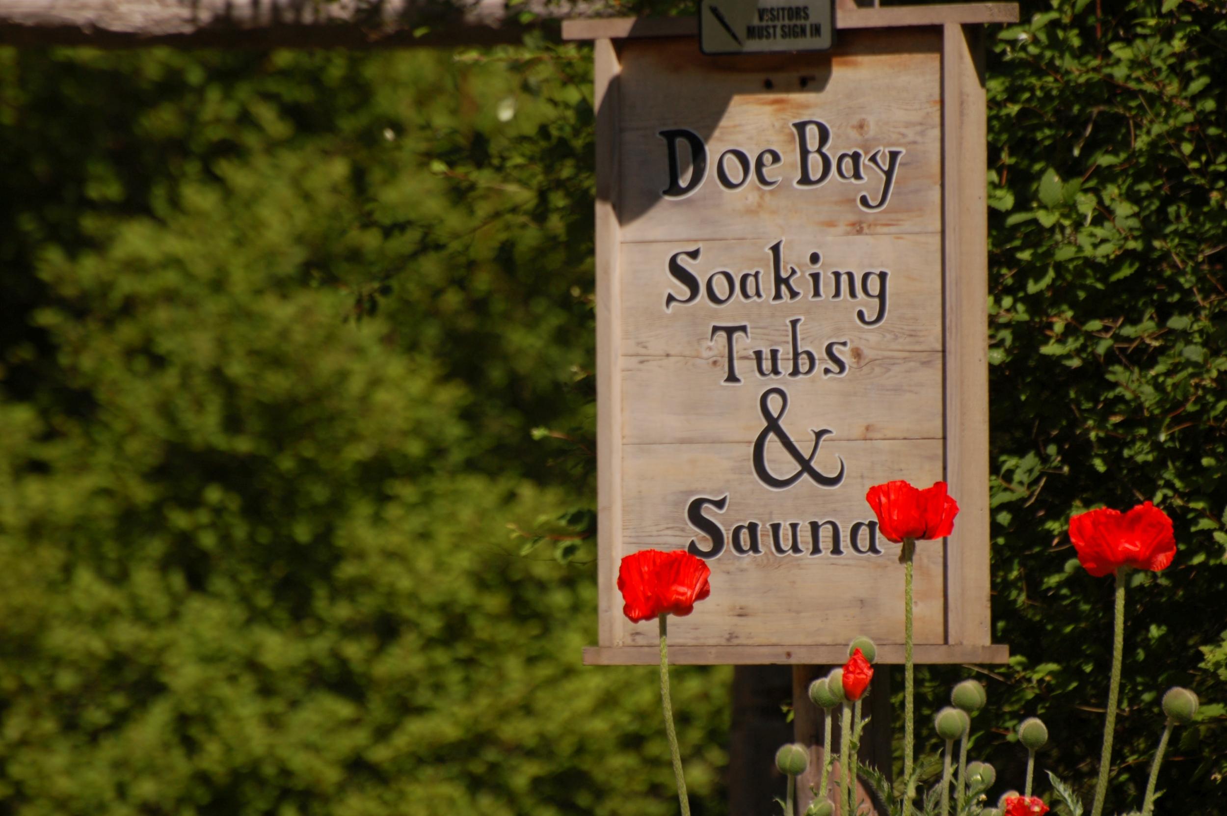 Doe Bay Wellness & Spa - Signage in Garden
