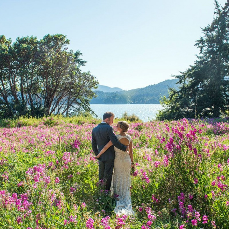 Island Wedding Photography Bride & Groom in Field of Flowers